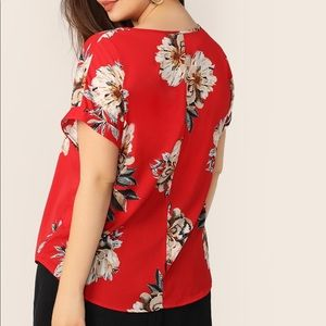 Tops - NWT red floral blouse